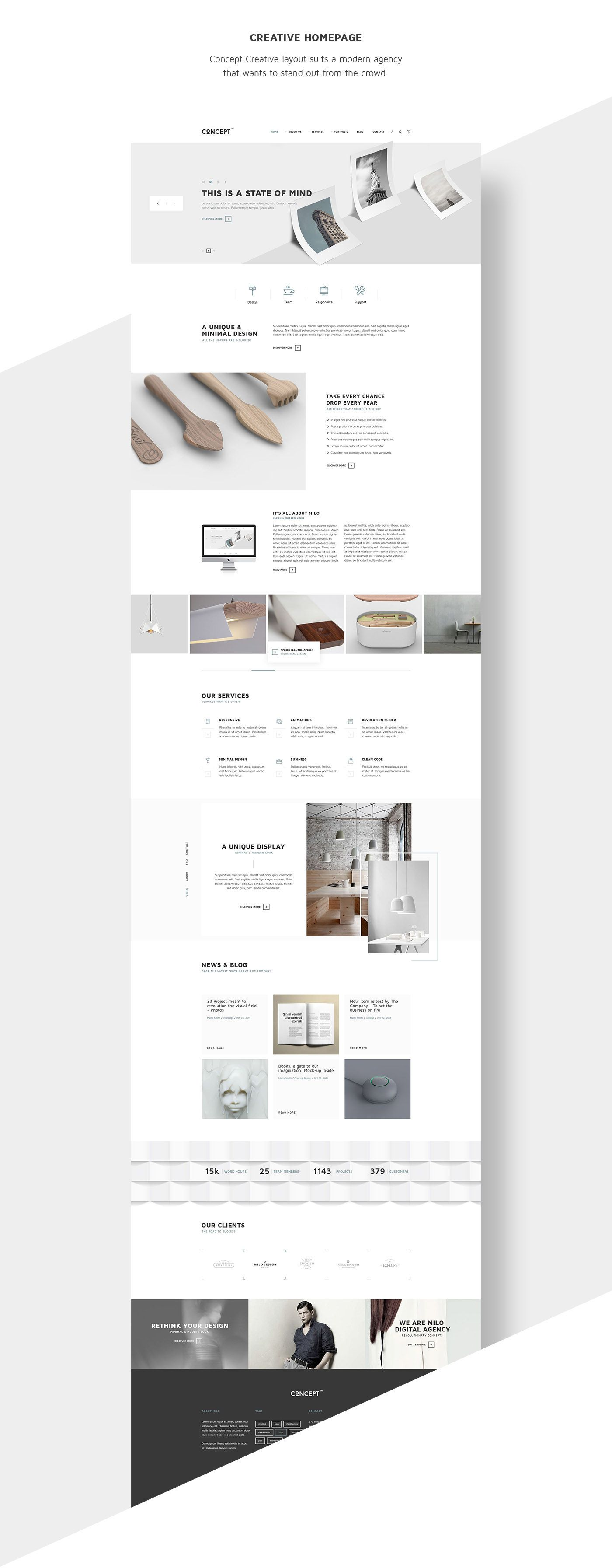 Concept is our latest WordPress Theme developed by milothemes and released on themeforest.net. It includes Revolution Slider Builder, Visual Composer Page Builder and a beautiful shop powered by WooCommerce Plugin. As always, thank you for your support.