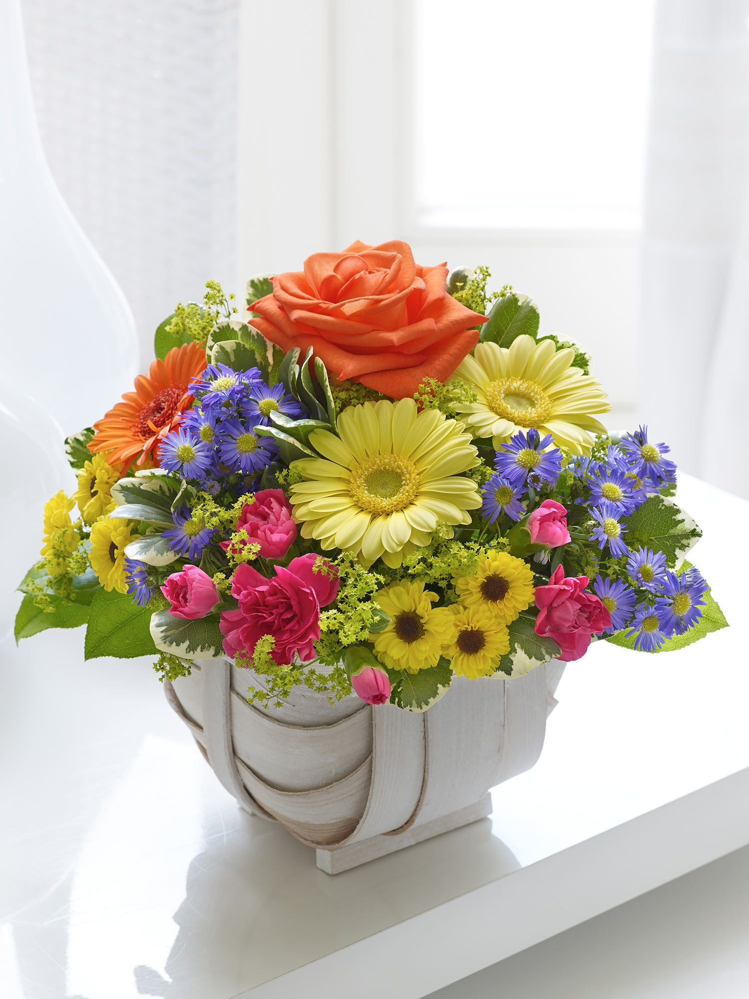 Petite Summer Basket - Interflora | CANASTAS | Pinterest | Flowers