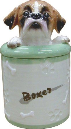 Boxer Collectible Dog Puppy Cookie Jar Container Statue Figurine Art