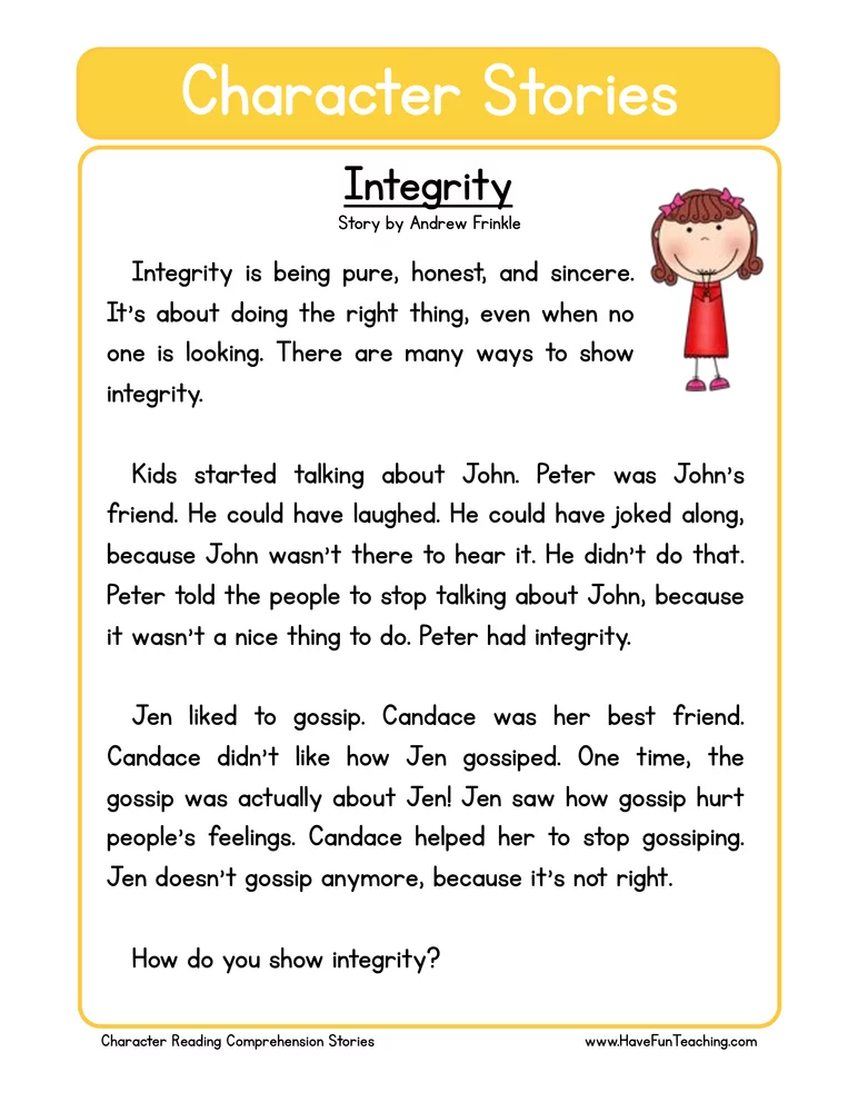 Integrity Character Reading Comprehension Worksheet