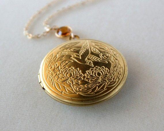 Locket necklace brass gold necklace with topaz crystal by opalj, $28.00