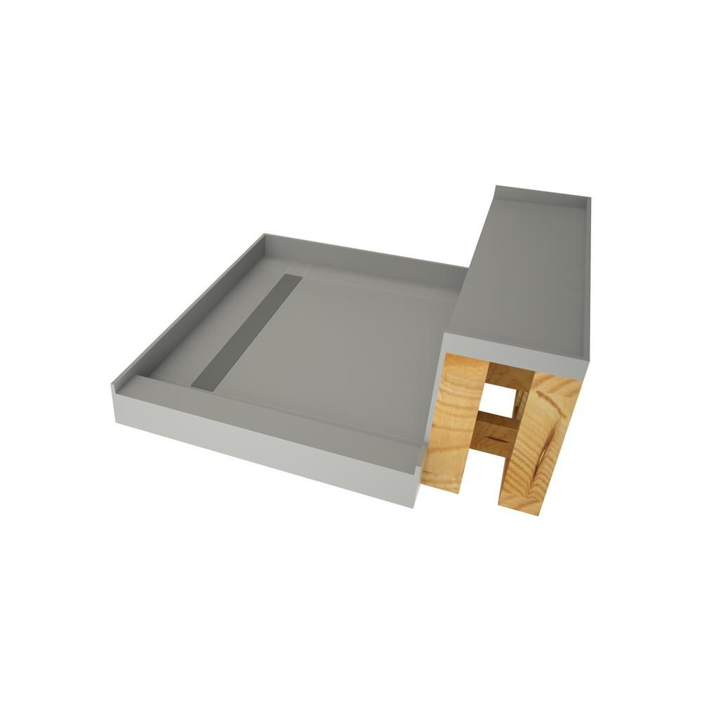 Tile Redi 42 In X 48 In Single Threshold Shower Base In Gray And Bench Kit With Left Drain And Tileable Trench Grate Shower Base Tile Redi Shower Wall Kits