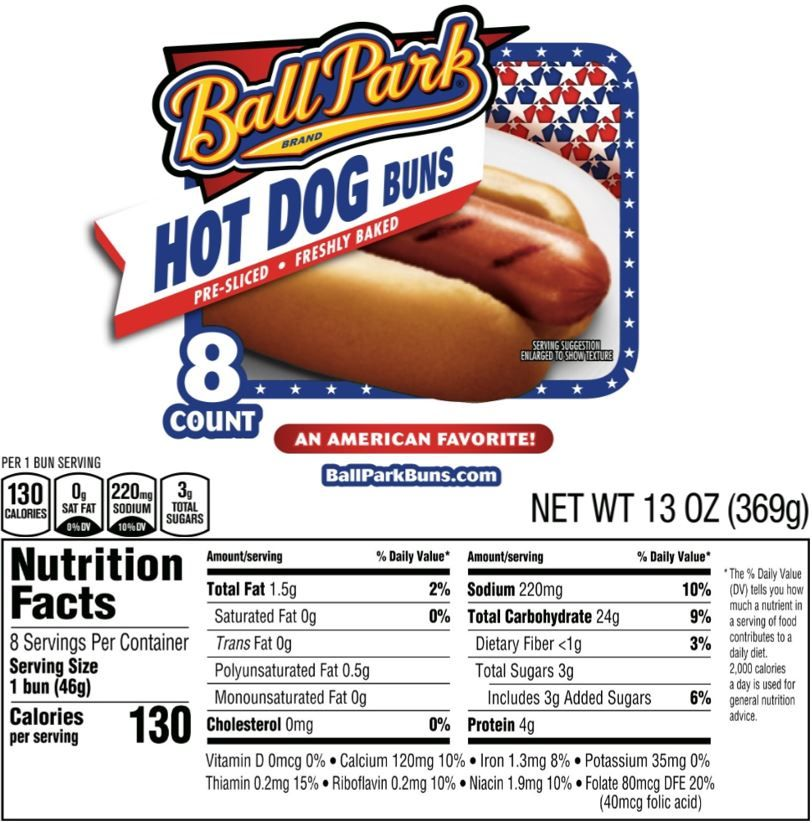 The updated Nutrition Facts label, as seen on Ball Park Hot Dog Buns. Image courtesy of Label Insight.