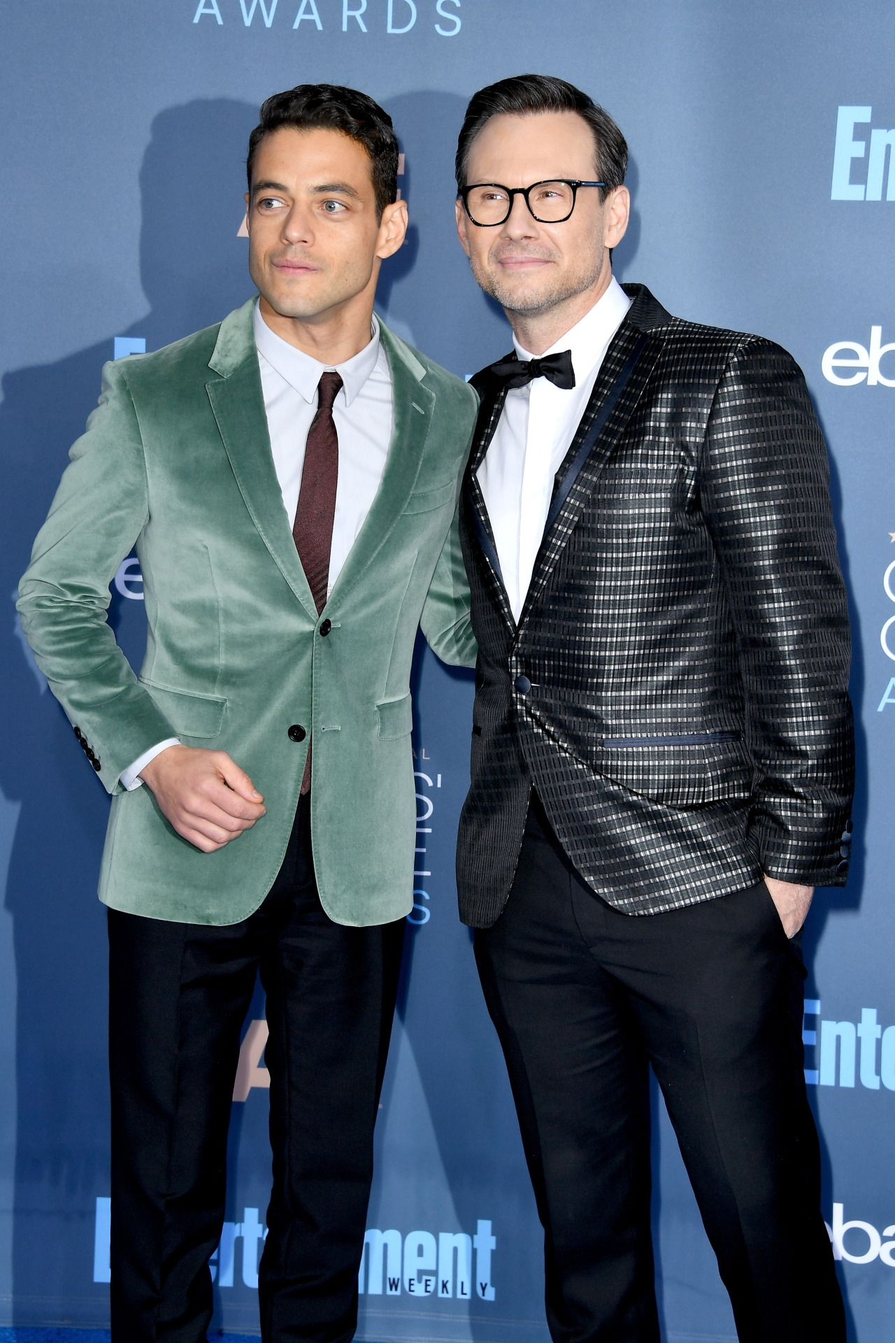 Rami Malek and Christian Slater attend The 22nd Annual Critics' Choice Awards at Barker Hangar on December 11, 2016 in Santa Monica, California.