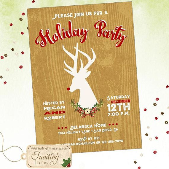 Holiday Party Invitation, Christmas Party Invitation featuring a - holiday party invitation