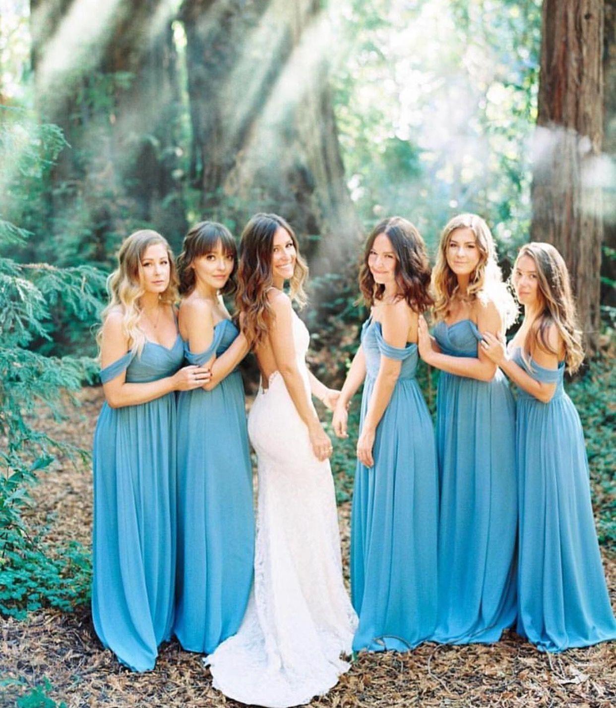 Bright blue off the shoulder bridesmaid dresses