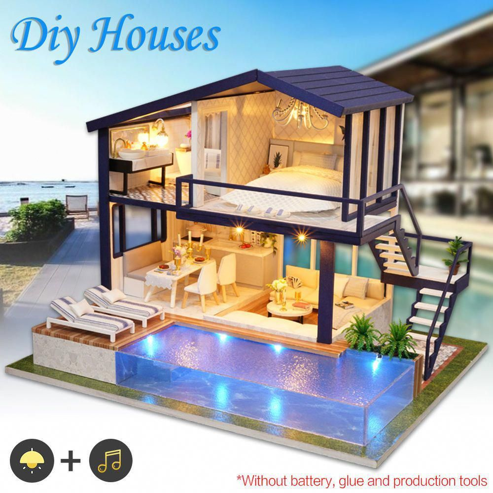 Details About Diy Led Loft Apartments Dollhouse Miniature Wooden Furniture Kit Doll House Gift Tiny House Design Cheap Doll Houses House