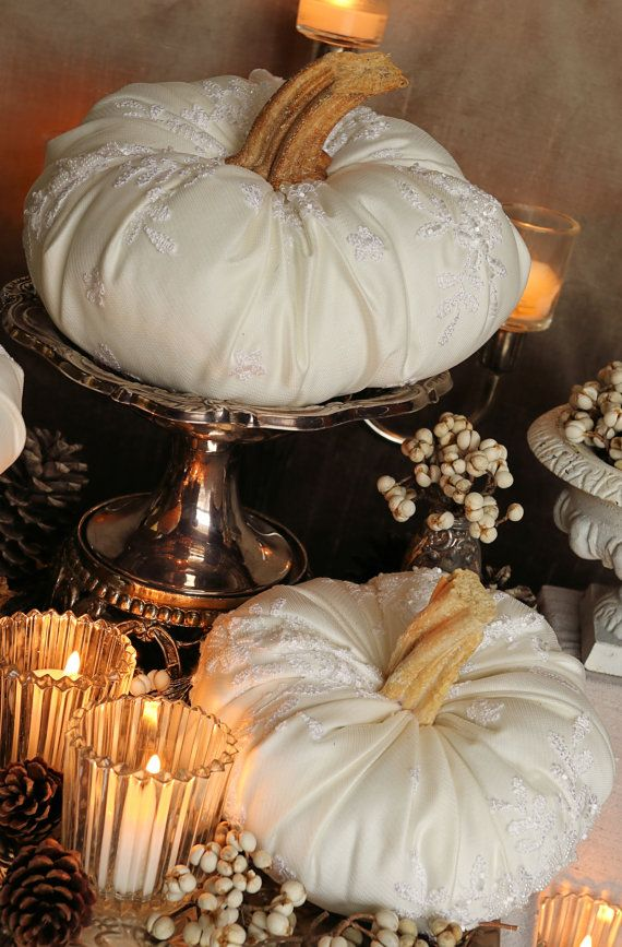 Fall Wedding Centerpiece Set of 4 Pumpkins by OrnateSplendor