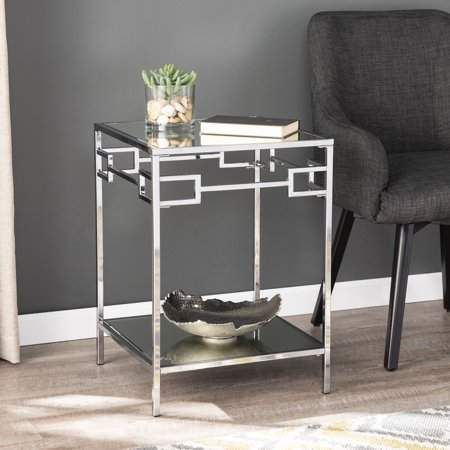 Detri Glam Mirrored End Table Silver By Ember Interiors Walmart Com Mirrored End Table End Tables Mirrored Side Tables