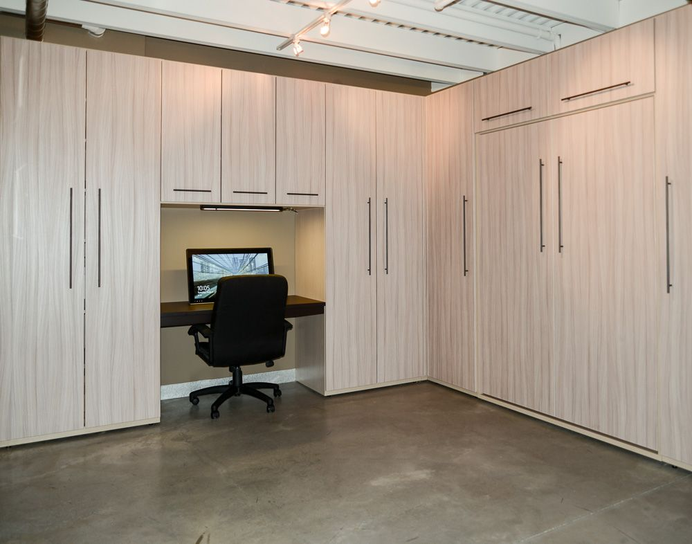 Office Converts To Bedroom With Murphy Bed Coming Down