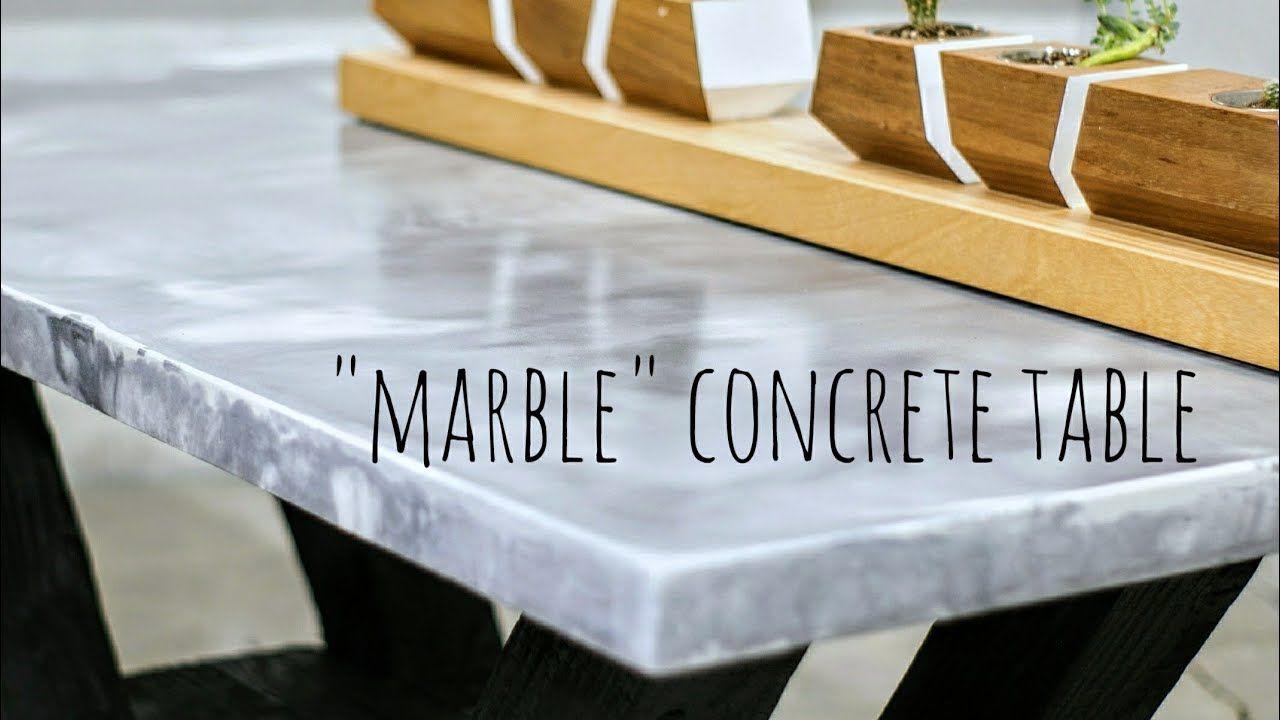 Diy marble concrete table w shou sugi ban base