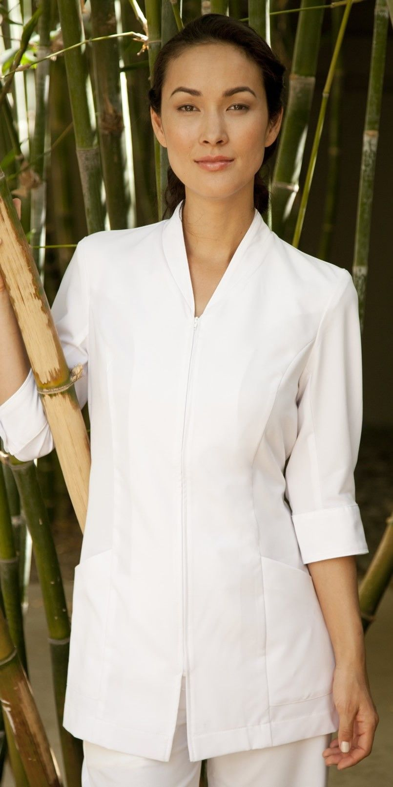 White w white piping teaching pinterest spa and for Spa uniform photos