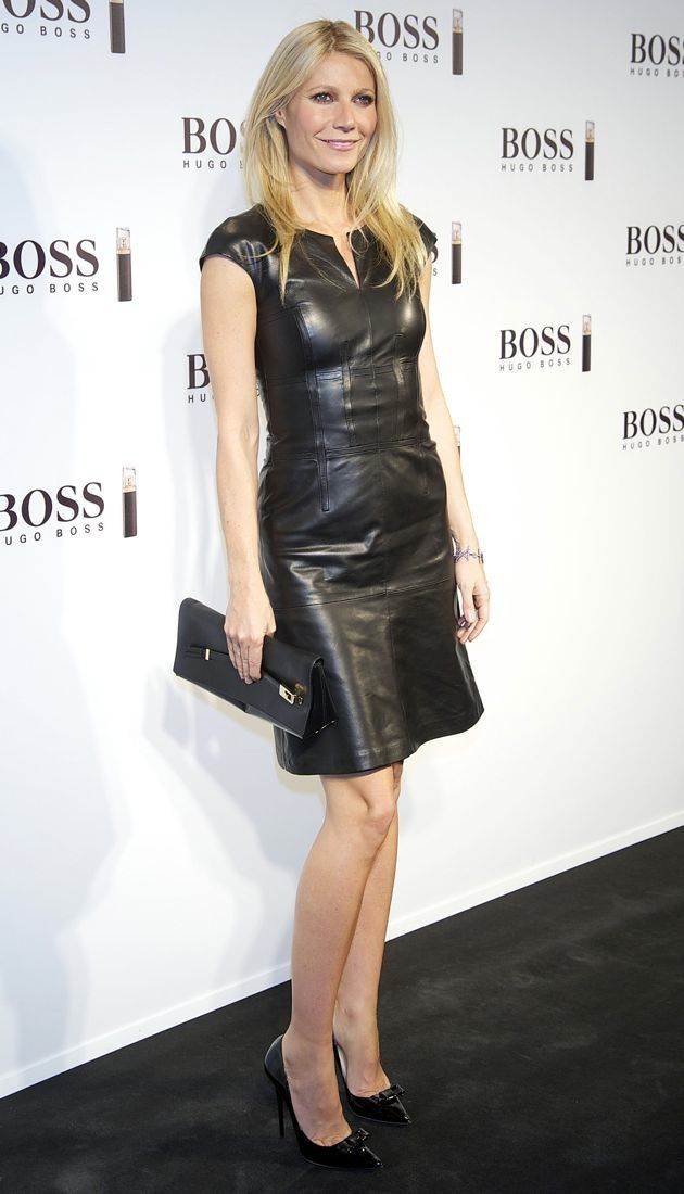 ec439e7bacf7 Look of the Day  Gwyneth Paltrow s Black Leather Hugo Boss Dress -  theFashionSpot- hair