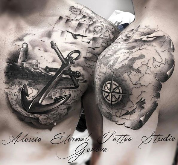 Nautical Compass Anchor Tattoo By Stefan Limited Availability At