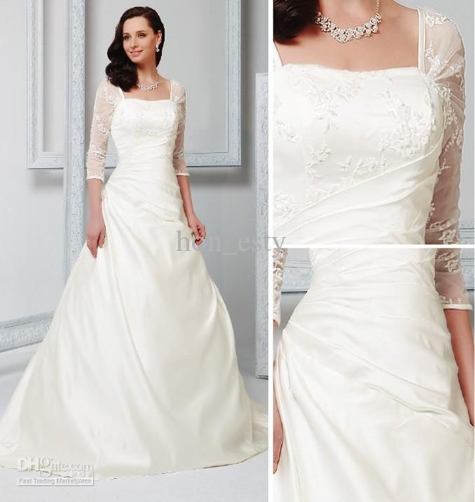 A Line Ivory Wedding Bridal Gowns Satin Square Lace Up 3/4 Sleeves Court Train Beads Lace Applique