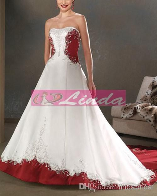 2014 Plus Size Wedding Dress Red Burgundy Embroidery Bridal Wedding Ball Gown C15, $156.75 | DHgate.com