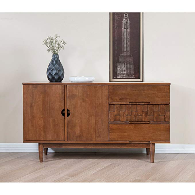 Amazon Com Mid Century Modern 55 Inch Brown Sideboard Buffet Cabinet With 2 Doors 2 Shelves And 3 Draw Furniture Mid Century Modern Sideboard Dining Room Bar