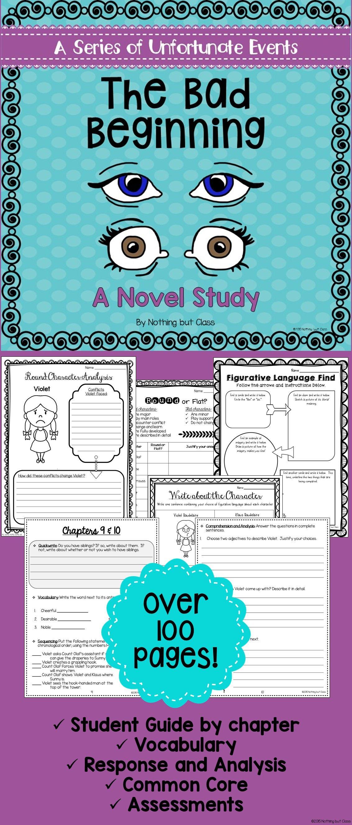 The Bad Beginning Novel Study Unit: comprehension, vocabulary ...