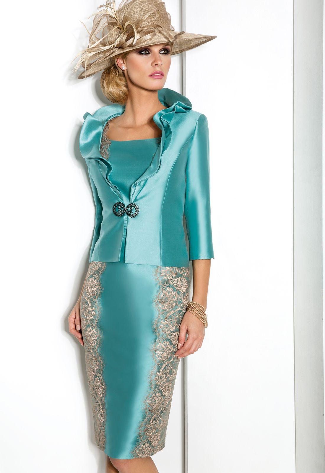 6242 Conjunto vestido de madrina corto en mikado y encaje de hilo ...