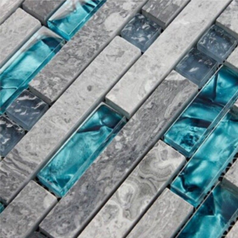 Gray Marble Backsplash Tiles Sea Glass Blue Wave Patterns Natural ...