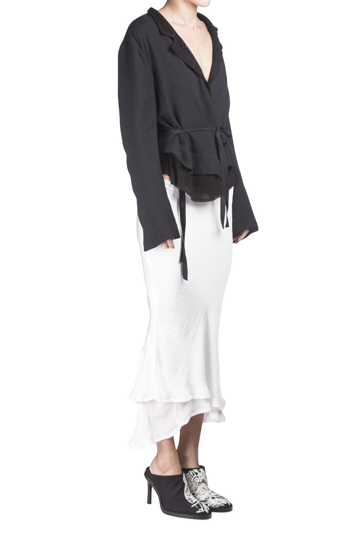 Haider Ackermann Ivory Ruffles Hem Skirt #Shopafar #HaiderAckermann #ruffle #detail #fashion #luxury #ss15 #black&white #silk #lace