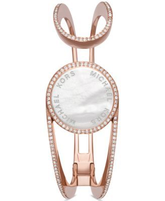 Michael Kors Access Women S Thompson Crystal Rose Gold Tone Stainless Steel Bangle Hinge Br Stainless Steel Bangles Crystal Rose Gold Hinged Bracelet