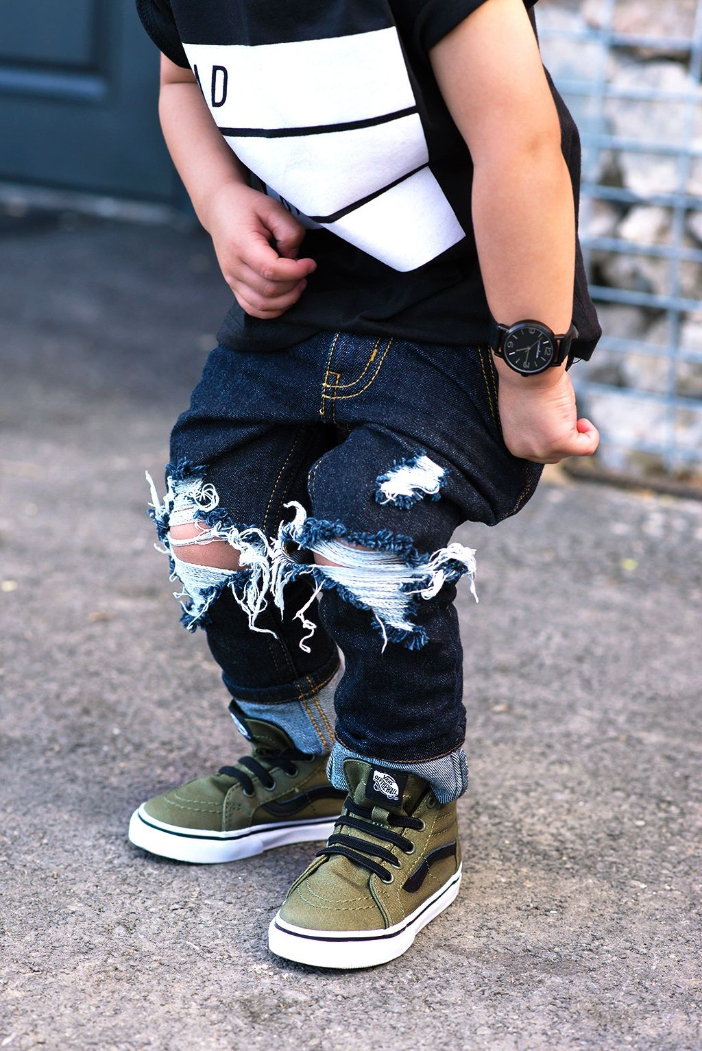 7715e98588 Toddler boy jeans lovesickthreads distressed denim vans sk8 hi top watch  fashion skinny baby