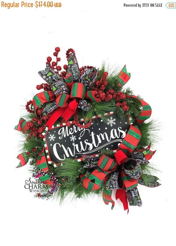 On Chalkboard Sign Merry Christmas Wreath Xmas Door Decor Holiday Red Green Whimsical