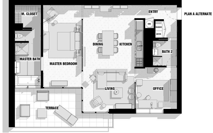 High Quality Interior Design, City Apartment Floor Plan Couples Closet Bathroom Bedroom  Dining Room Kitchen Terrace Living Room Office And Entry Way ~ Chic  Apartment ...