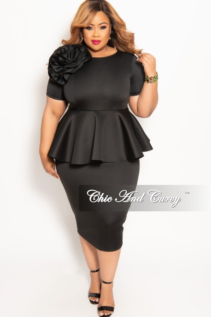 Plus Size Short Sleeve Flower Peplum Midi Dress With Back Zipper Chic And Curvy Peplum Midi Dress Plus Size Black Dresses Chic And Curvy [ 1200 x 801 Pixel ]