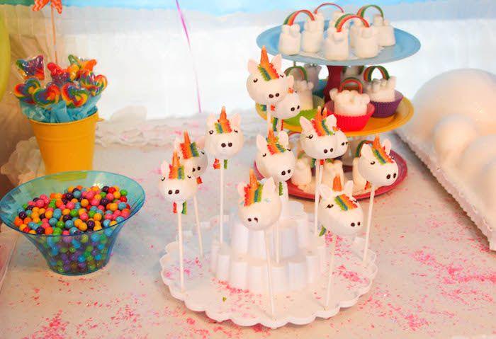 Printable Rainbow Birthday Invitations ~ Rainbow unicorn birthday party unicorn cake pops unicorn