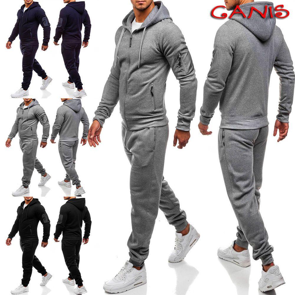 Winter Men Tracksuit Jogging Sports Gym Sweat Suit Hoodie Jacket Trousers Pants