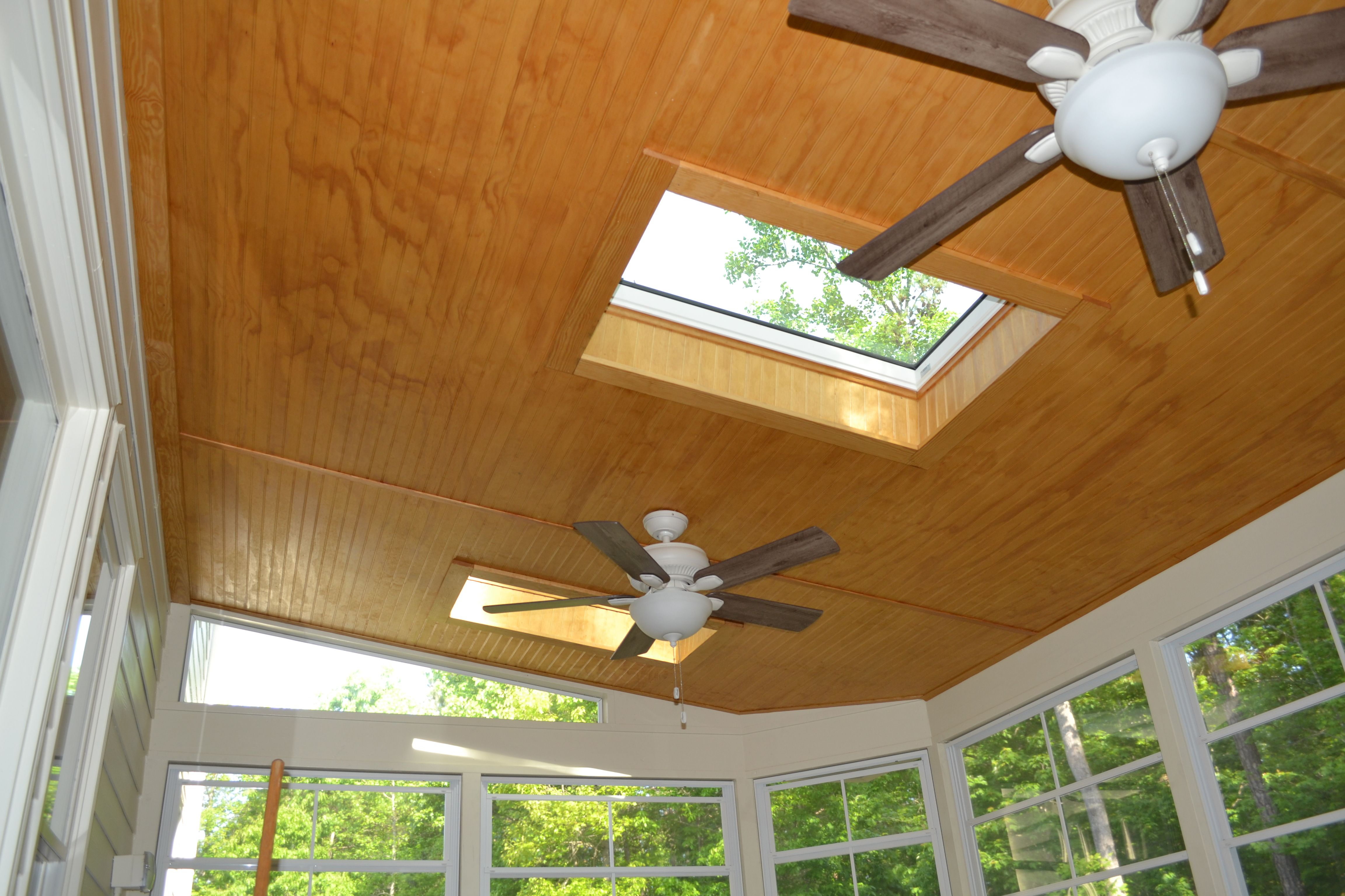 Screened porch with Eze breeze windows and skylights A tongue and