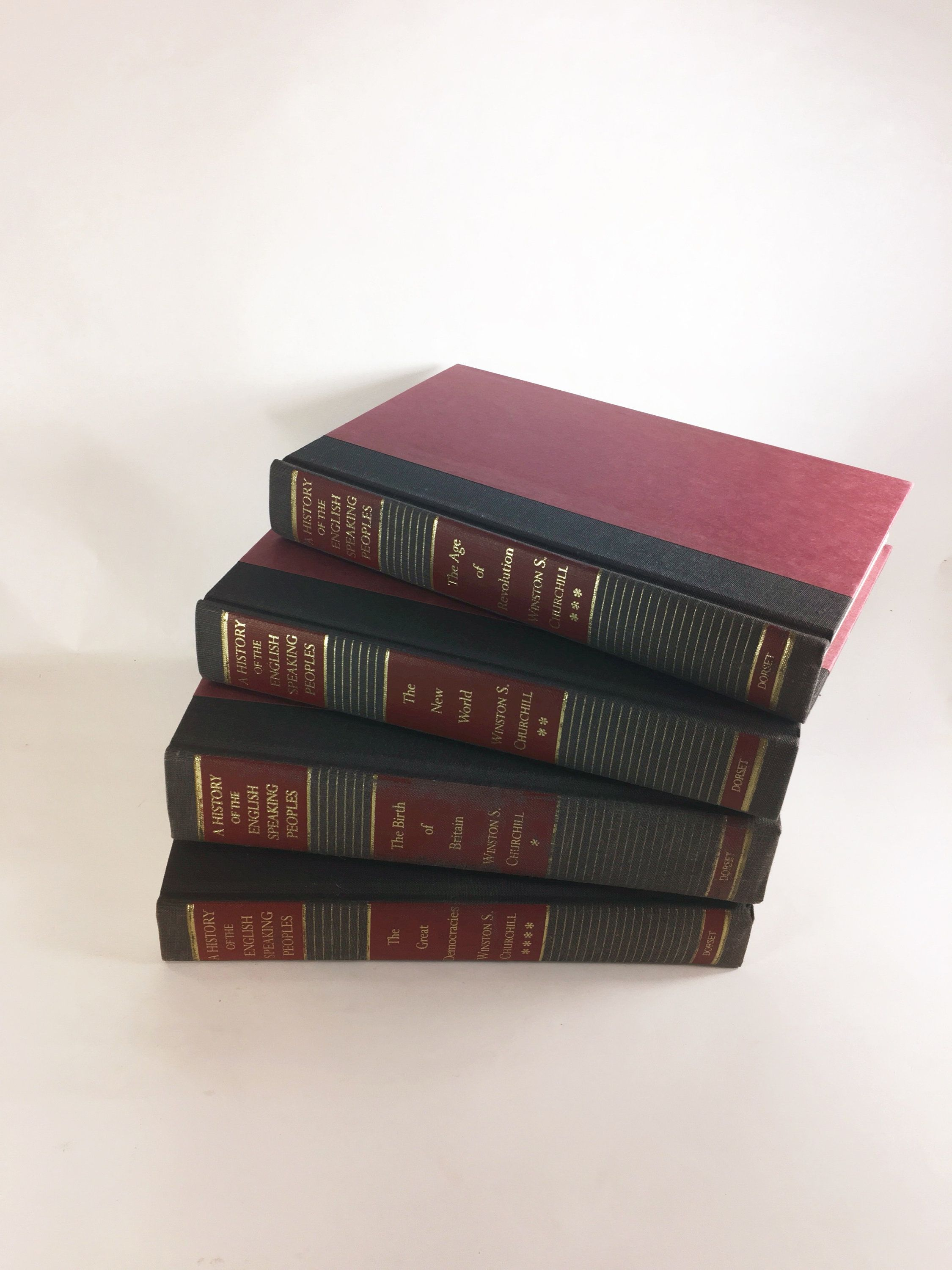 Winston Churchill Four Volume Vintage Book Set Circa 1956 History Of The English Speaking Peoples Britain Revolution Gr Vintage Book Set Vintage Book Book Set