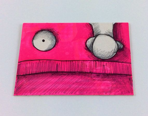 Pink Monster ACEO by Aaron Butcher on Etsy, $5.00