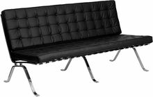 Amazing Flash Furniture Black Leather Sofa With Curved Metal Legs Unemploymentrelief Wooden Chair Designs For Living Room Unemploymentrelieforg