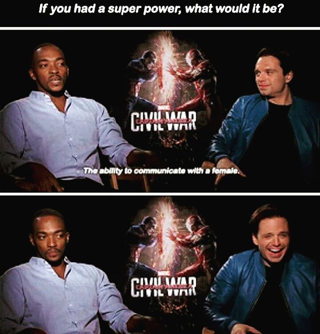 Captain America civil war falcon Bucky what would your superpower be if you could have one