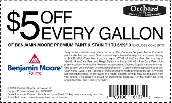 photograph regarding Benjamin Moore Printable Coupon named Orchard Offer Components: $5 off Benjamin Moore Printable