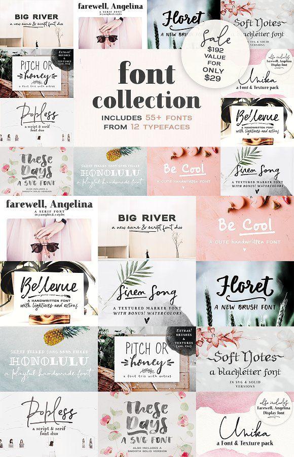 SALE! 2018 Font Bundle by Ana's Fonts on @creativemarket