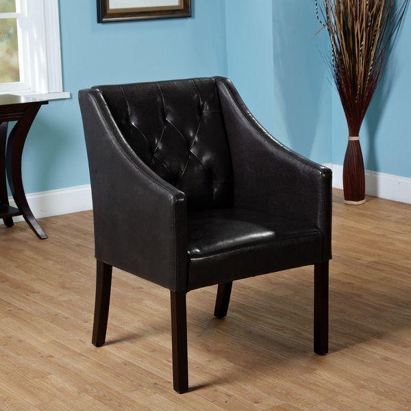 Bon $127   Simple Living Tufted Black Faux Leather Guest Chair