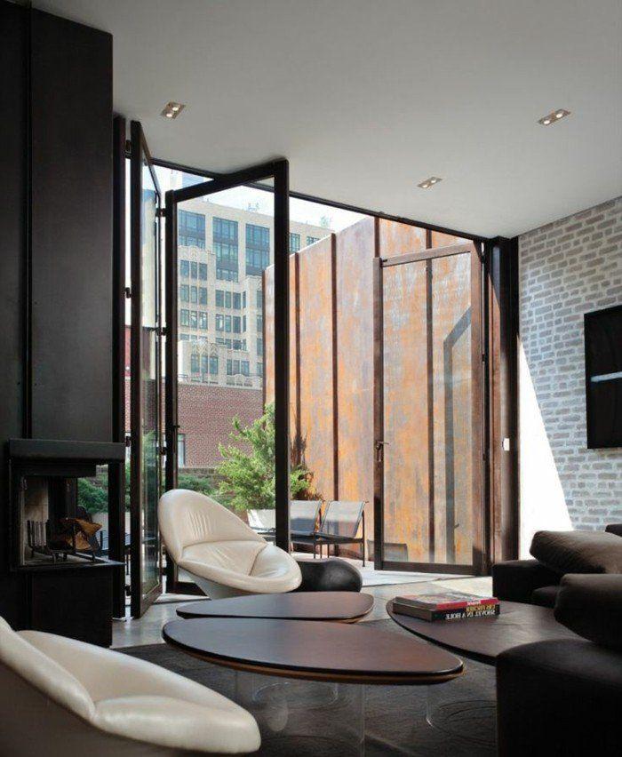 Les Portes Pliantes Design En 44 Photos Porte Pliante Structure Metal Et Deco Salon