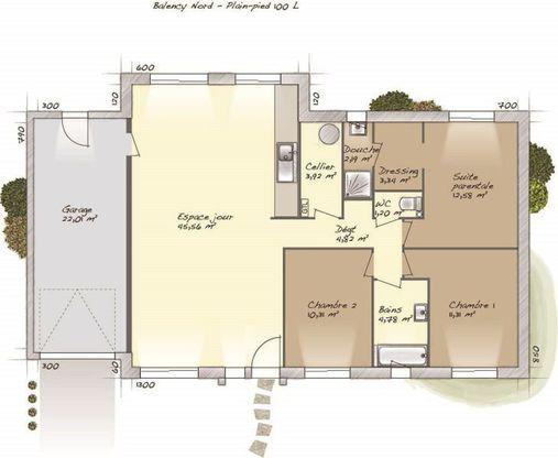 Modèle de maison Plain-pied 100L -  Retrouvez tous les types de - modeles de maison a construire