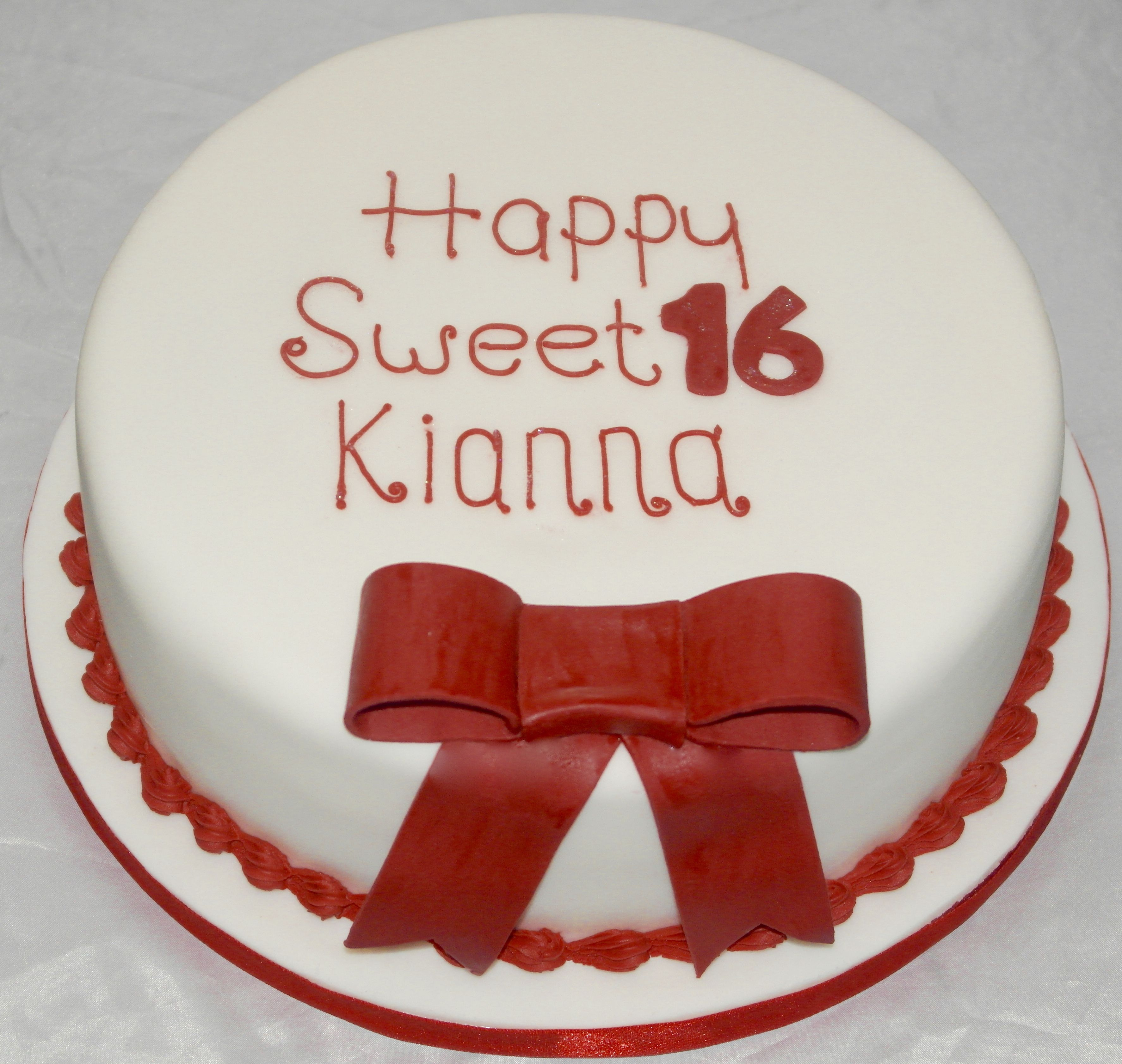 16th Birthday Cake, layered vanilla cake with fondant bow