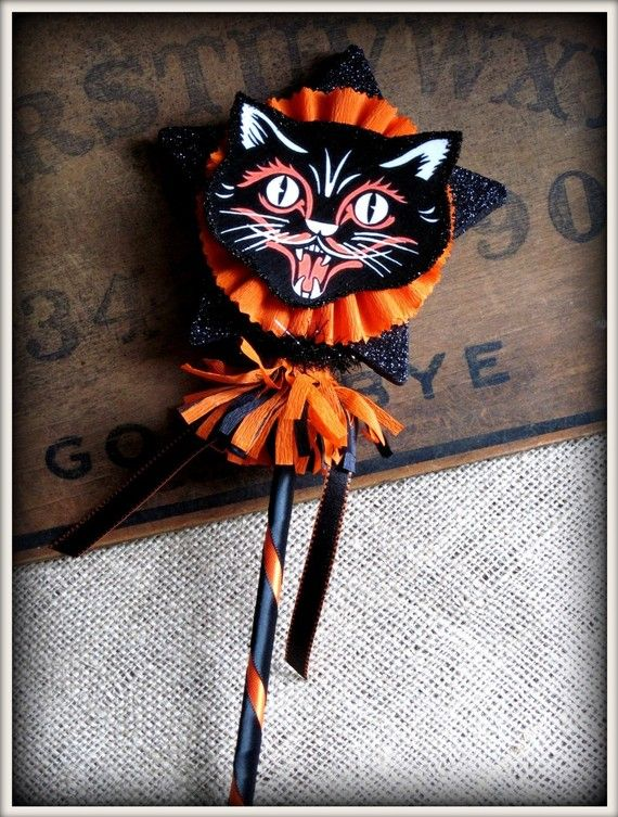 Vintage Inspired Black Cat Wand HALLOWEEN by ...