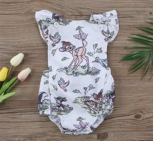 NEW Disney Bambi Baby Girls Yellow Ruffle Romper Bodysuit Jumpsuit Outfit
