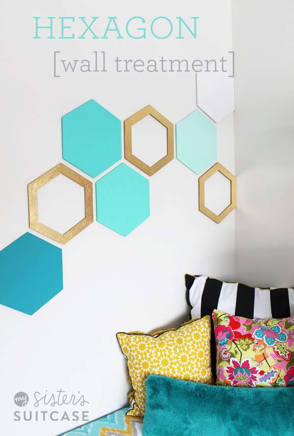 DIY Geometric Wall Decals   This DIY Geometric Wall Art Livens Up Any Room  Without Permanent