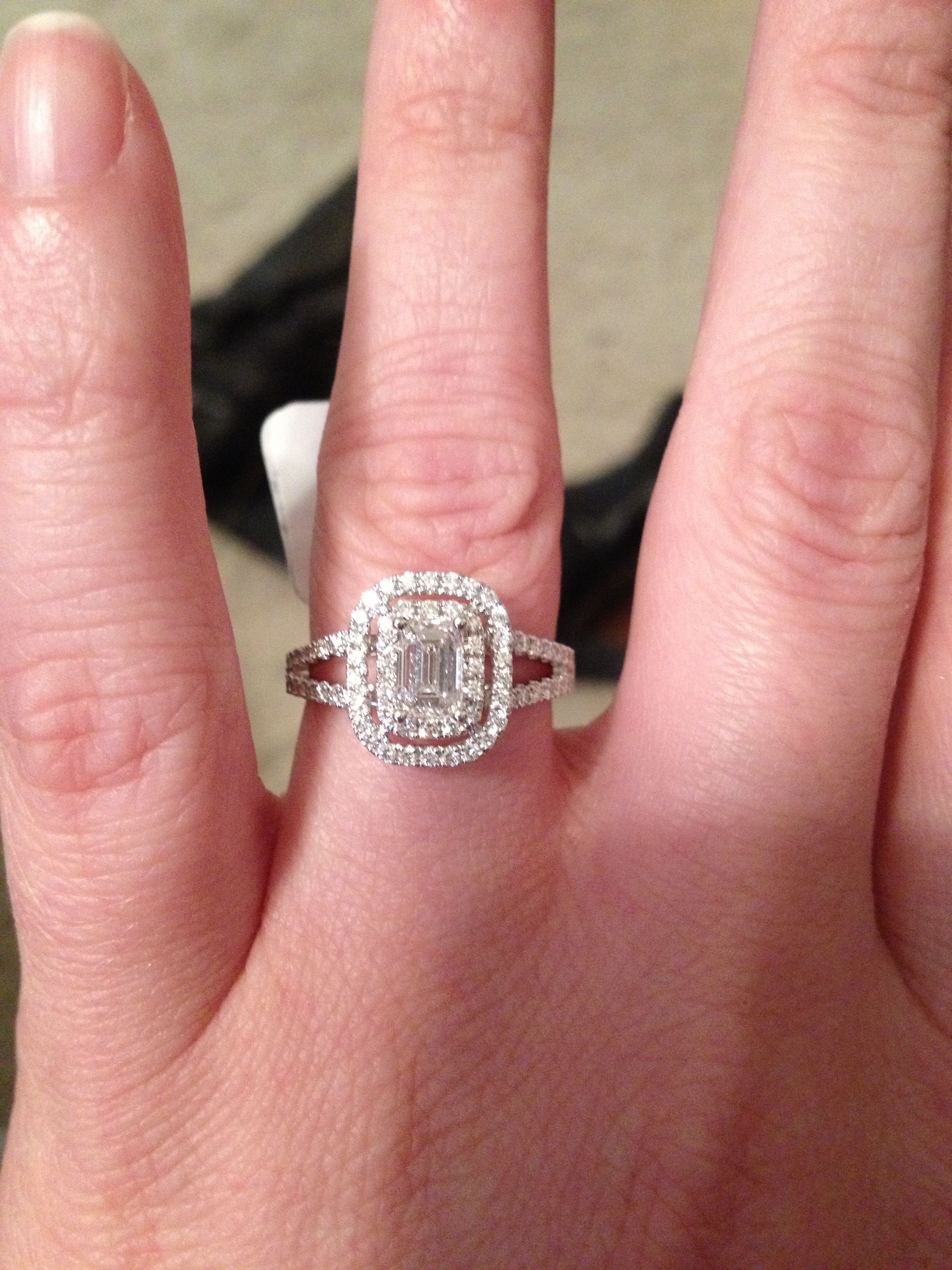 Emerald cut diamond double halo split shank engagement ring ...