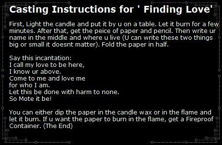 """Alchemy Spells   Casting Instructions for 'Finding Love' """"I call my love to be here, I ..."""