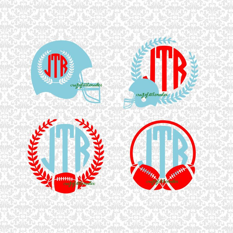 Football Helmet Monogram Laurel Sports SVG STUDIO Ai EPS
