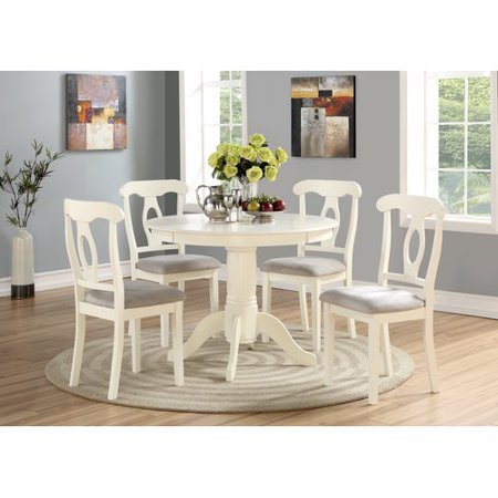 Angel Line 5 Piece Lindsey Dining Set White Walmart Com Dining Room Sets Round Dining Table Dining Table Chairs